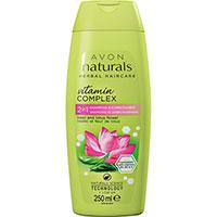 AVON naturals hair Basilikum & Lotusblüte 2-in-1 Shampoo & Spülung 250 ml