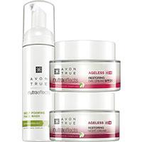 AVON nutra effects Ageless 45+ Gesichtspflege + Reinigungsschaum Set