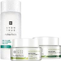 AVON nutra effects Mattierende Tagescreme + Gelcreme für die Nacht + Mizellen-Gesichtswasser Set