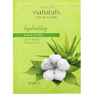 AVON naturals Aloe & Baumwolle Feuchtigkeitsmaske für das Gesicht im Beutel