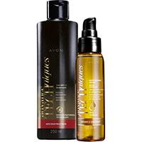 AVON Advance Techniques Shampoo für geschädigtes Haar + Pflegeserum mit Arganöl Set