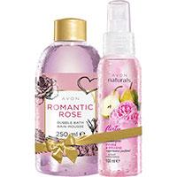AVON BUBBLE BATH Schaumbad Romantische Rose + naturals Birne & Pfingstrose Körperspray Set