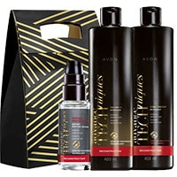 AVON Advance Techniques Haarpflege-Set für geschädigtes Haar 3-teilig + Geschenktasche