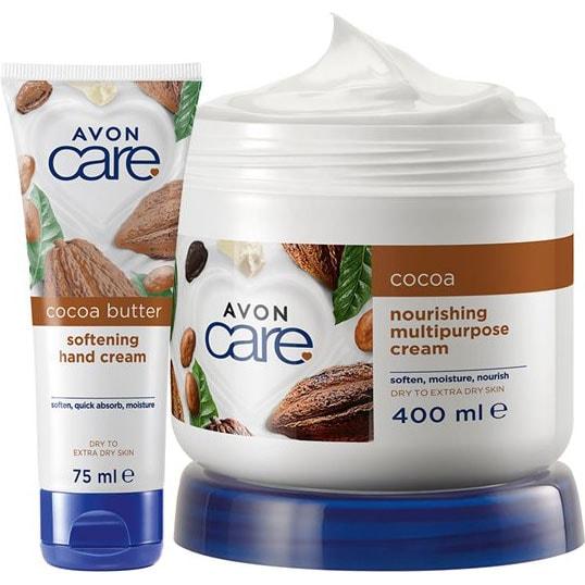 AVON care Kakaobutter Pflegecreme für Gesicht, Körper & Hände + Handcreme Set