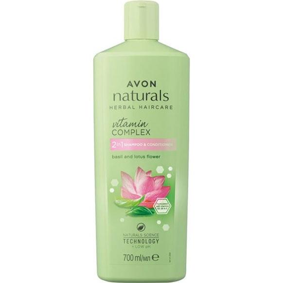 AVON naturals Hair 2-in-1 Shampoo & Spülung Basilikum & Lotusblüte 700 ml