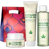 AVON Cannabis Sativa Öl Pflege-Set 3-teilig + Geschenktasche