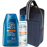 AVON care Men 3-in-1 Shampoo + Aftershave Set + Kulturbeutel