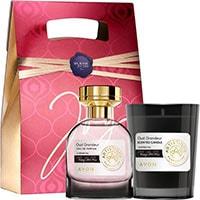 AVON Artistique Oud Grandeur Eau de Parfum + Duftkerze Set + Geschenktasche