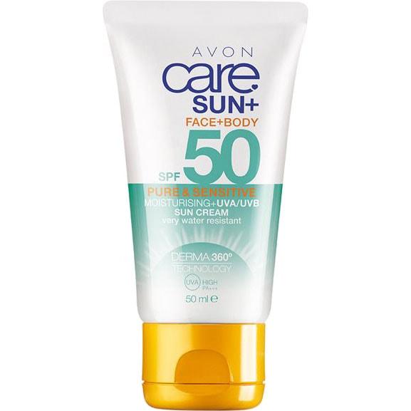 AVON care SUN+ Sonnenschutz Lotion für empfindliche Haut LSF 50 50 ml