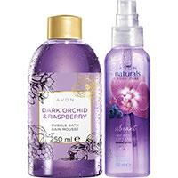 AVON BUBBLE BATH Dunkle Orchidee & Himbeere Schaumbad + naturals Orchidee & Heidelbeere Körperspray Set
