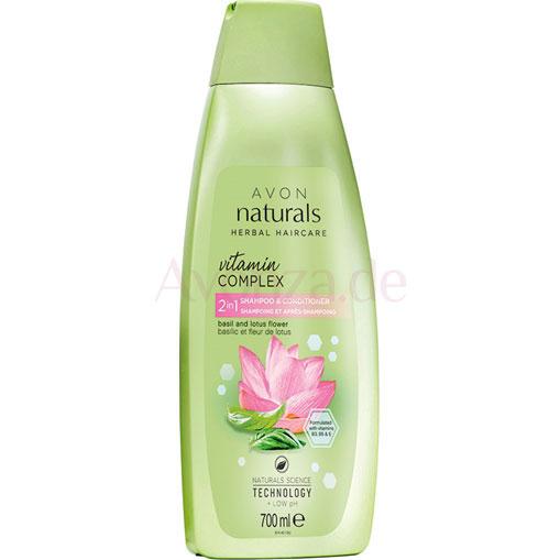 AVON naturals hair Basilikum & Lotusblüte 2-in-1 Shampoo & Spülung 700 ml