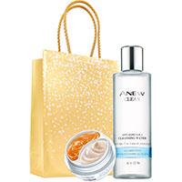 AVON ANEW 2-Phasen-Augenpflege + Gesichtswasser Set + Geschenktasche