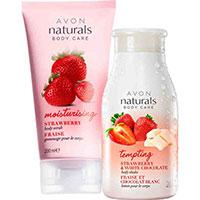 AVON naturals Erdbeere Körperpeeling + Weiße Schokolade Körperlotion Set