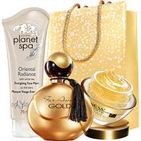 AVON ANEW Gold-Emulsion + Far Away Gold + Oriental Radiance Gesichtscreme Set + Geschenktasche