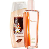 AVON Cherish Deospray im Glasflakon + Divine Time Duschcreme Set