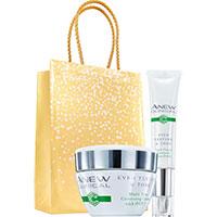 AVON ANEW Clinical Pflege gegen Augenringe + Creme für Ebenmäßigen Hautton Set + Geschenktasche