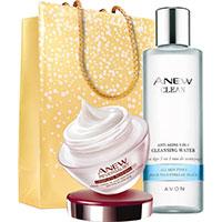 AVON ANEW Reversalist Tagescreme + Clean Gesichtswasser Set + Geschenktasche